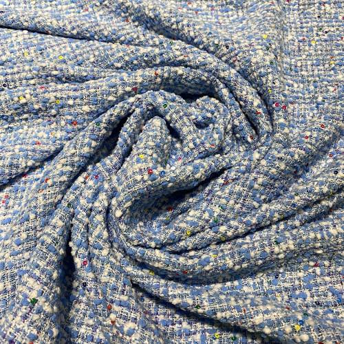 Tissu tissé et irisé effet tweed bleu ciel blanc et paillettes