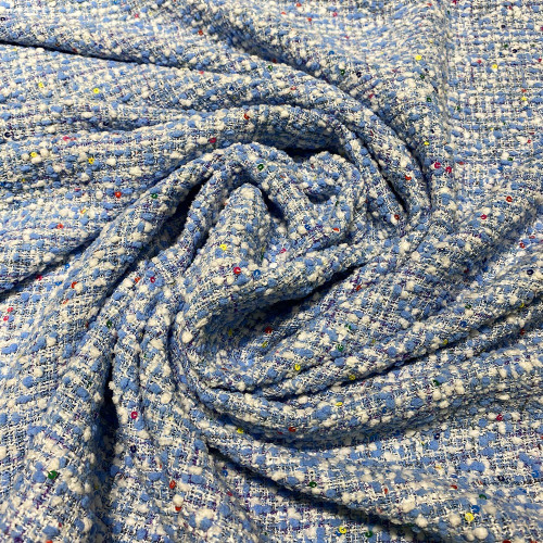 Woven and iridescent fabric with white sky blue tweed and sequins