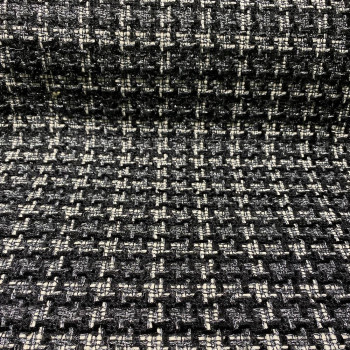 Woven and iridescent tweed fabric with black, white and silver checks