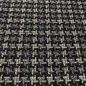 Tissu tissé et irisé effet tweed à carreaux noir blanc et argent