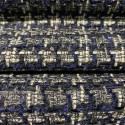Tissu tissé et irisé effet tweed bleu marine blanc et argent