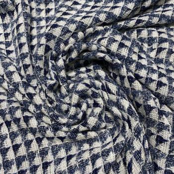 Tissu tissé et irisé effet tweed blanc et bleu indigo