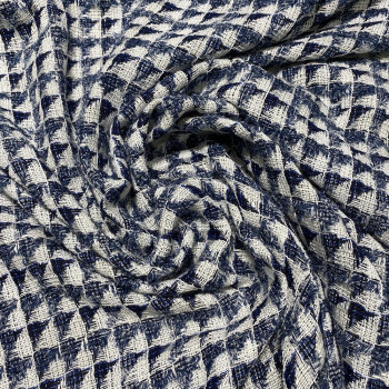 Woven and iridescent fabric tweed effect white and indigo blue