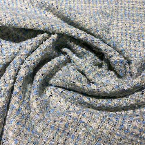Sky blue and gold woven and iridescent tweed fabric