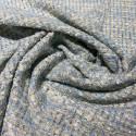 Tissu tissé et irisé effet tweed bleu ciel et or