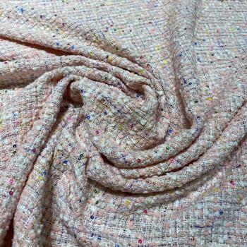 Tissu tissé et irisé effet tweed rose et or