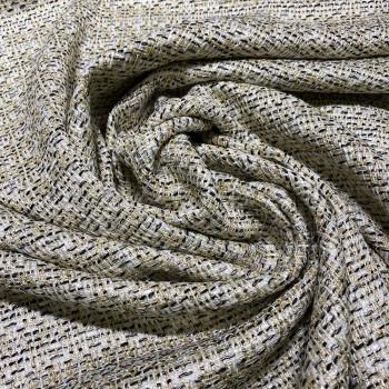 Tissu tissé et irisé effet tweed noir et or