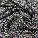 Tissu tissé et irisé effet tweed fond noir or et multicolore rose