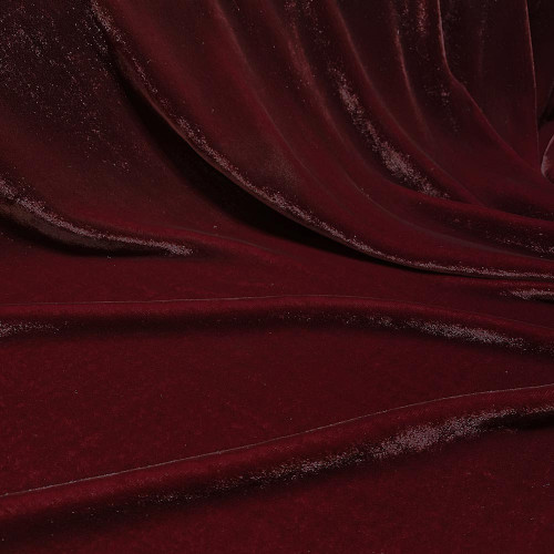 Tissu velours de soie sandwashed bordeaux lie de vin