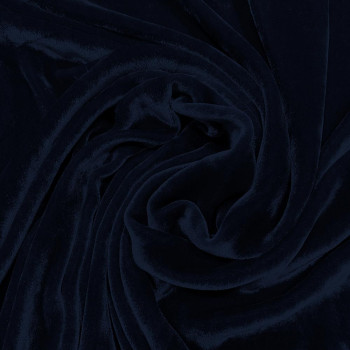 Navy blue sandwashed silk velvet fabric