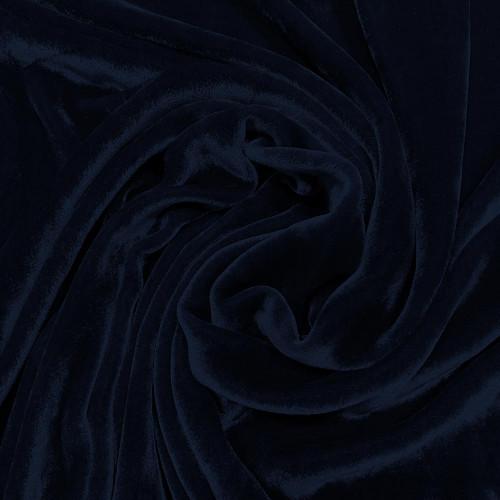 Navy blue sandwashed silk velvet fabric