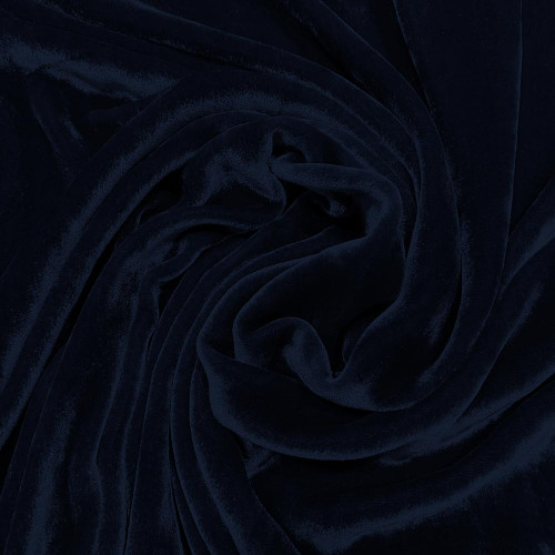 Tissu velours de soie sandwashed bleu marine