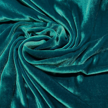 Tissu velours de soie sandwashed bleu canard