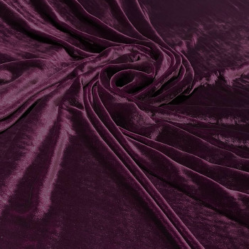 Plum purple sandwashed silk velvet fabric