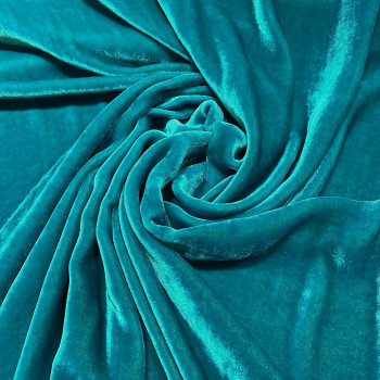 Turquoise blue sandwashed silk velvet fabric