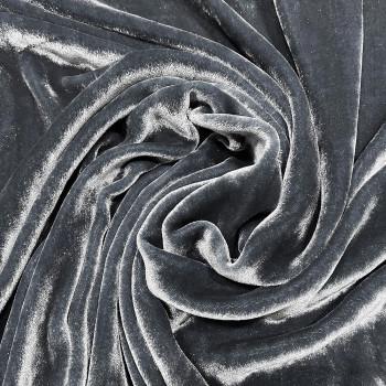 Tissu velours de soie sandwashed gris perle