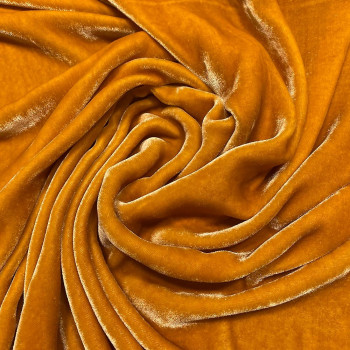 Yellow sandwashed silk velvet fabric