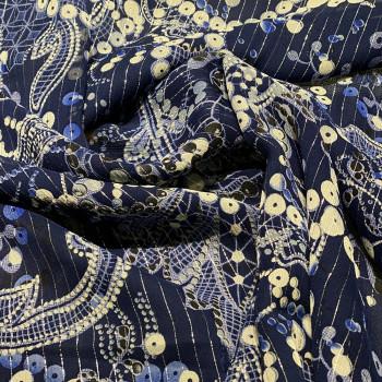 Tissu mousseline de soie bleue et fil or