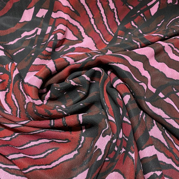 Crinkled silk chiffon with red zebra print