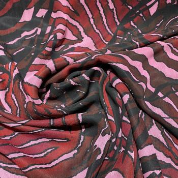 Tissu mousseline de soie fripée imprimé zèbre rouge