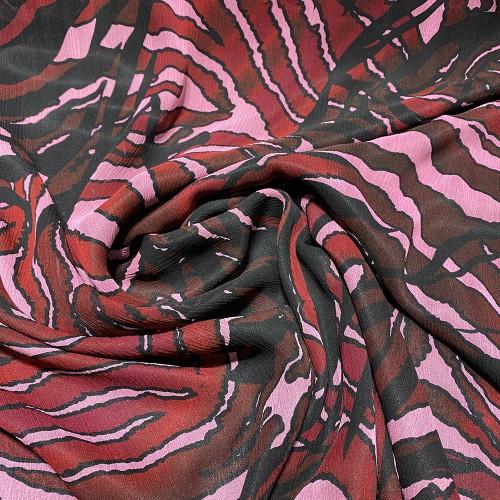 Crinkled silk chiffon with red zebra print