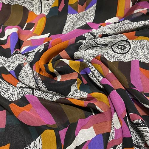 Tissu mousseline de soie fripée imprimé géométrique