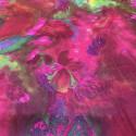 Tissu mousseline de soie fripée imprimé floral psychédélique
