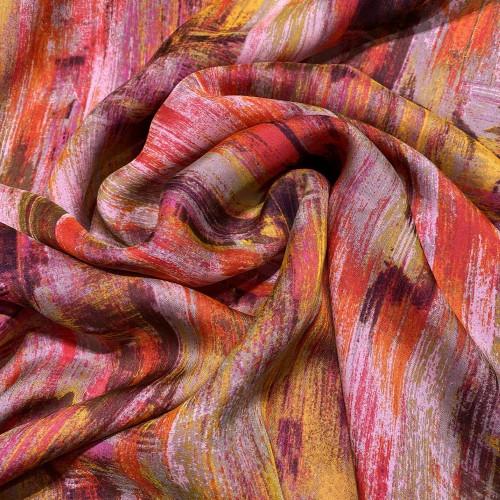 Abstract printed silk chiffon fabric