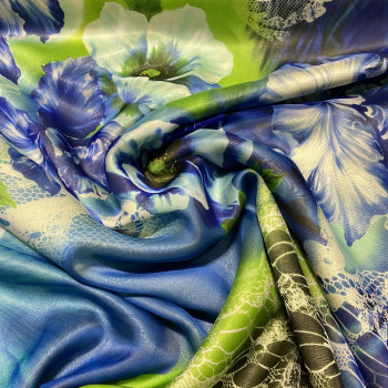Silk chiffon fabric with abstract flower print
