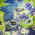 Tissu mousseline de soie imprimé fleur abstrait