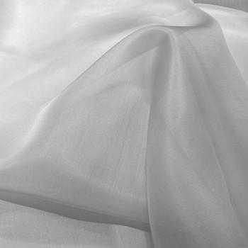 Tissu organza de soie gris perle