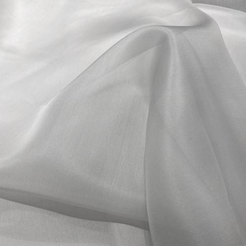 Pearl grey silk organza fabric