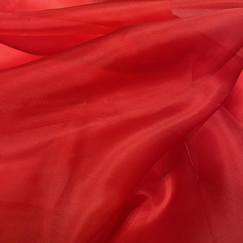 Tissu organza de soie rouge