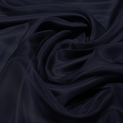 Navy blue silk organza fabric