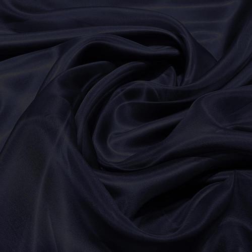Tissu organza de soie bleu marine