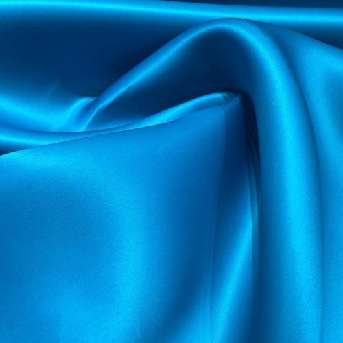 Tissu triple organza de soie bleu turquoise