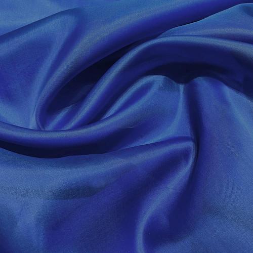 Tissu voile satin double organza de soie bleu