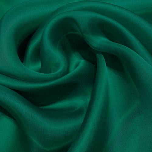 Green satin organza double silk fabric