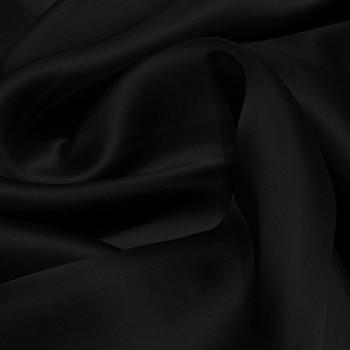 Tissu voile satin double organza de soie noir