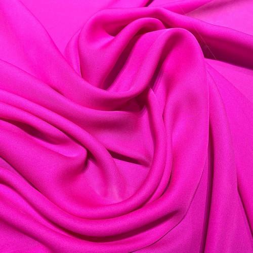 Fuschia fluid silk crepe dobby fabric