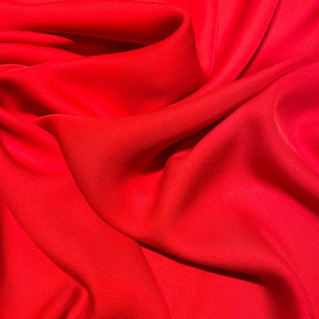 Red fluid silk crepe dobby fabric