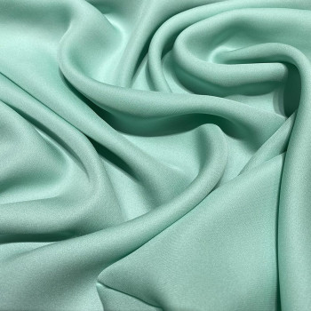 Nile green fluid silk crepe dobby fabric