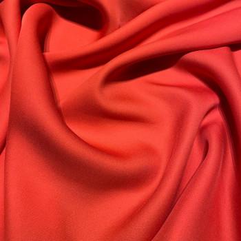 Tissu crêpe de soie fluide rouge corail