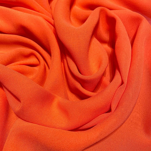 Orange crepe silk georgette fabric