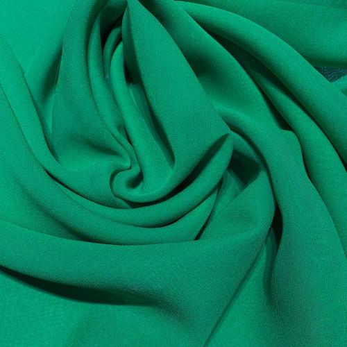 Tissu crêpe georgette de soie vert émeraude