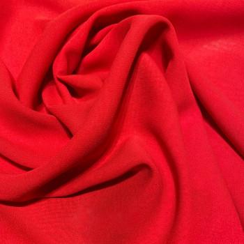 Tissu crêpe georgette de soie rouge