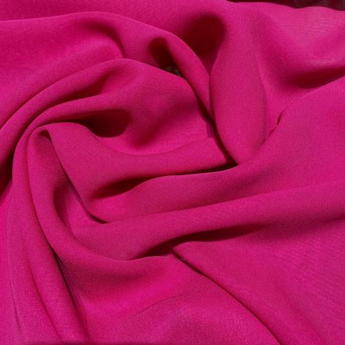 Tissu crêpe georgette de soie fuchsia
