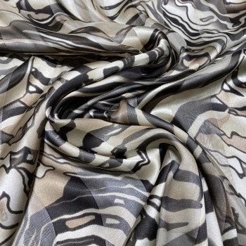 Chiffon fabric with beige zebra satin band print