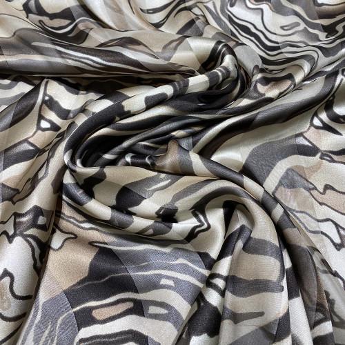 Tissu mousseline de soie imprimé bande satin zèbre beige
