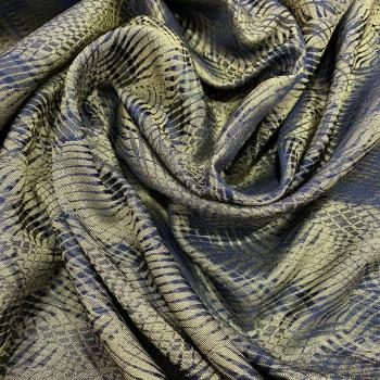 Tissu jacquard de soie feuilles vert kaki